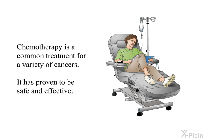 Chemotherapy is a common treatment for a variety of cancers. It has proven to be safe and effective.